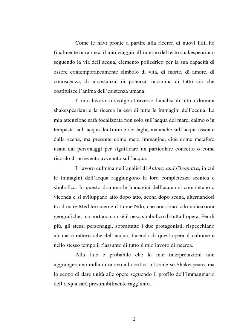 Anteprima della tesi: Le immagini dell'acqua nel teatro di William Shakespeare, Pagina 2