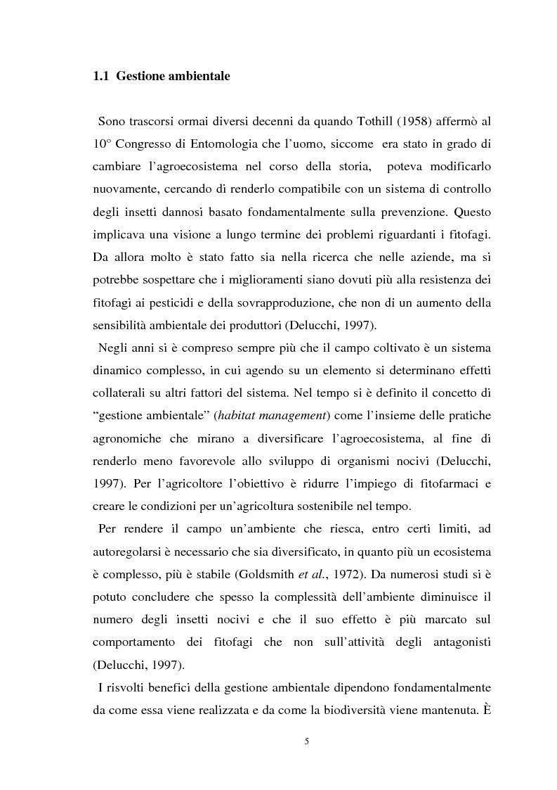 Anteprima della tesi: Influenza delle zone non coltivate sul ciclo degli insetti predatori, Pagina 3