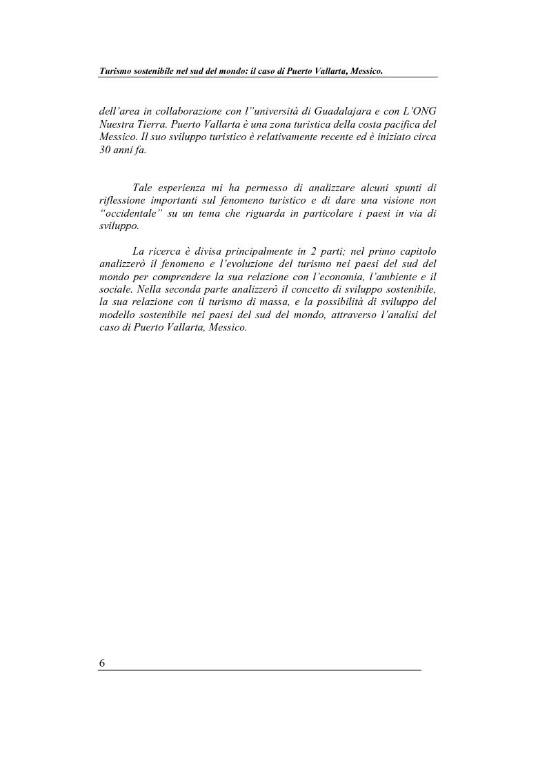 Anteprima della tesi: Turismo sostenibile nel sud del mondo: il caso di Puerto Vallarta, Messico, Pagina 4