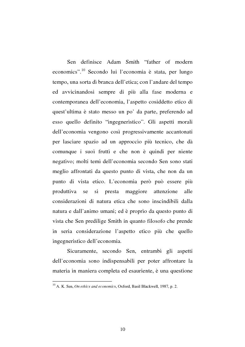 Anteprima della tesi: Amartya Sen lettore di Smith. Osservazioni sulla globalizzazione, Pagina 10