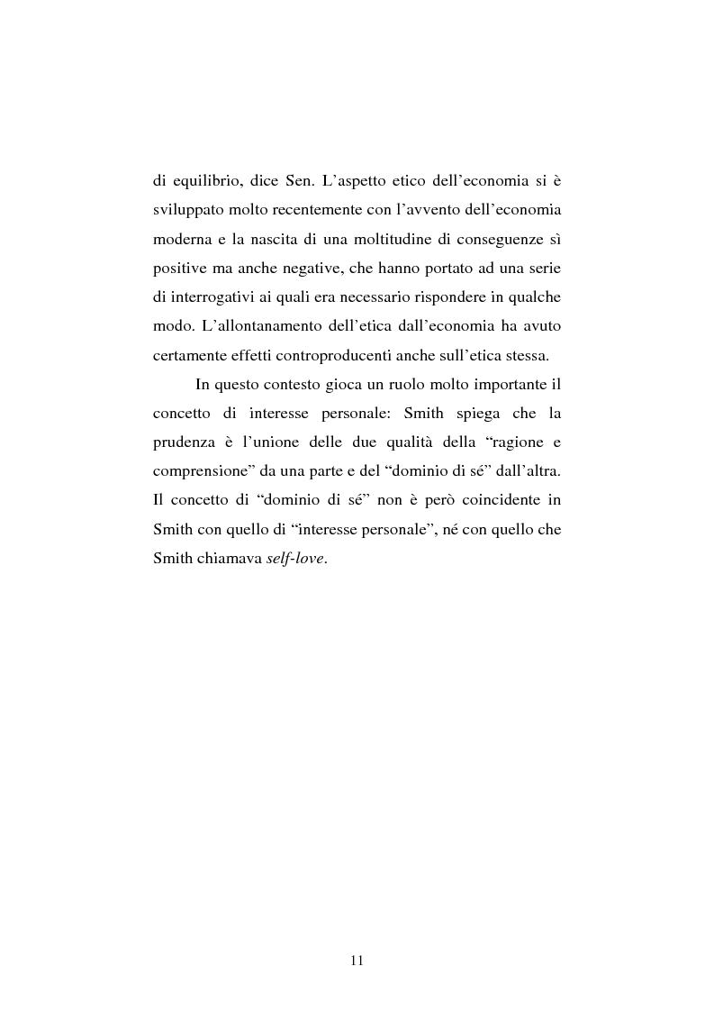 Anteprima della tesi: Amartya Sen lettore di Smith. Osservazioni sulla globalizzazione, Pagina 11