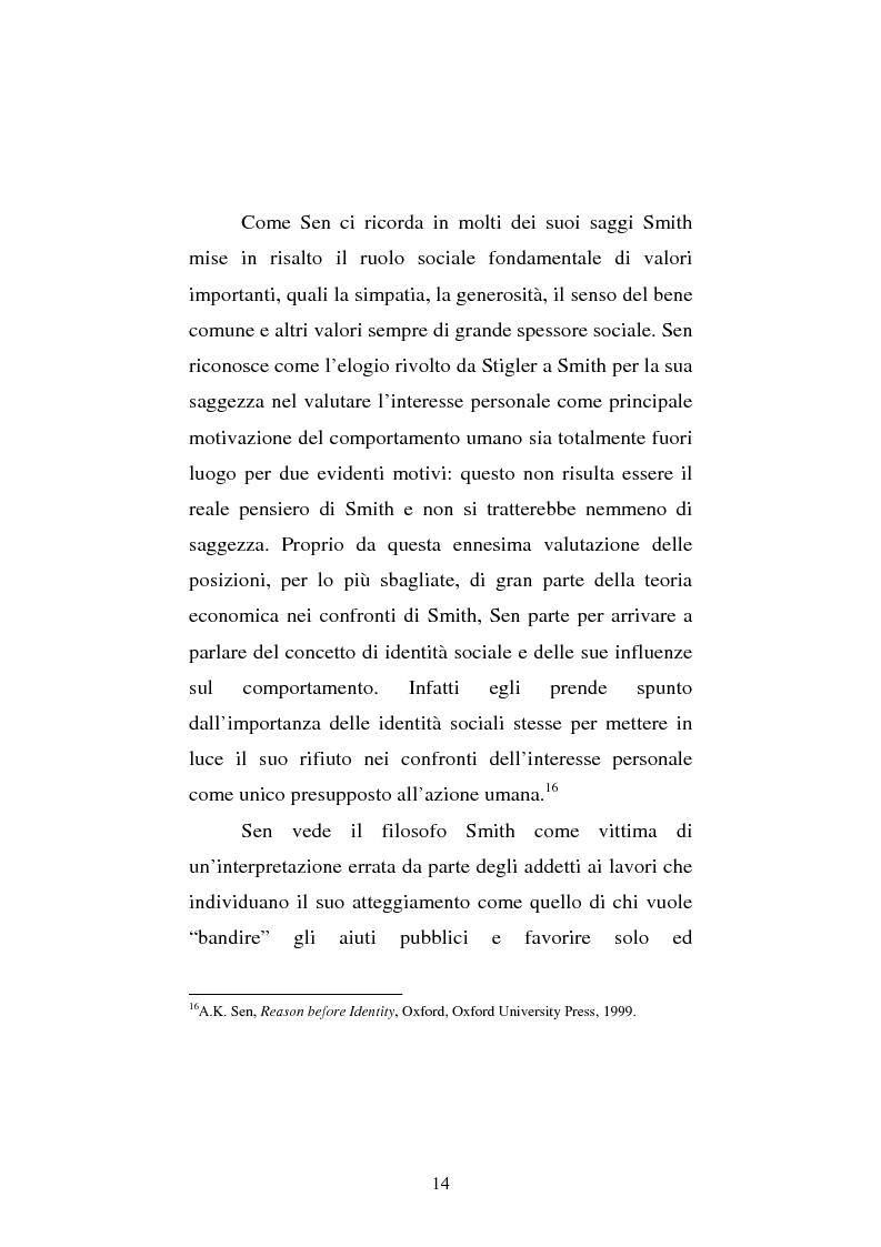 Anteprima della tesi: Amartya Sen lettore di Smith. Osservazioni sulla globalizzazione, Pagina 14