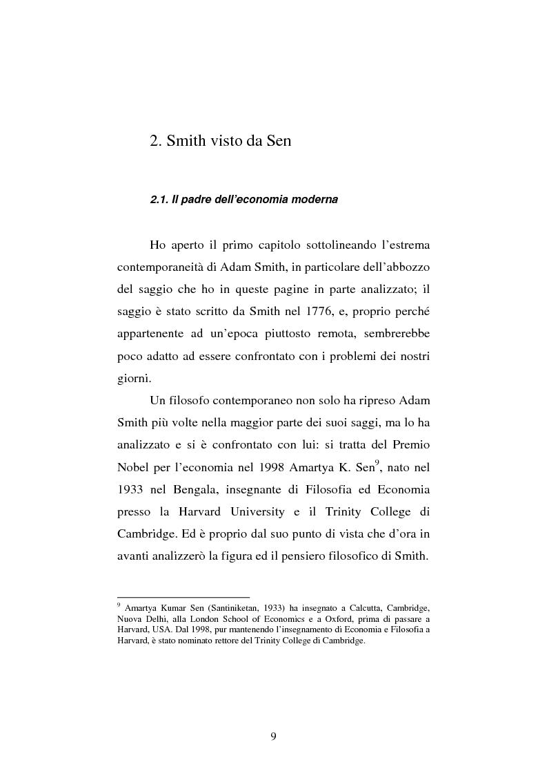 Anteprima della tesi: Amartya Sen lettore di Smith. Osservazioni sulla globalizzazione, Pagina 9