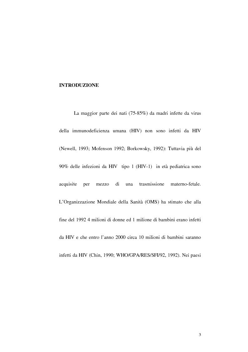 Anteprima della tesi: Riduzione della trasmissione verticale del virus HIV-1 mediante la modalità di espletamento del parto, Pagina 1