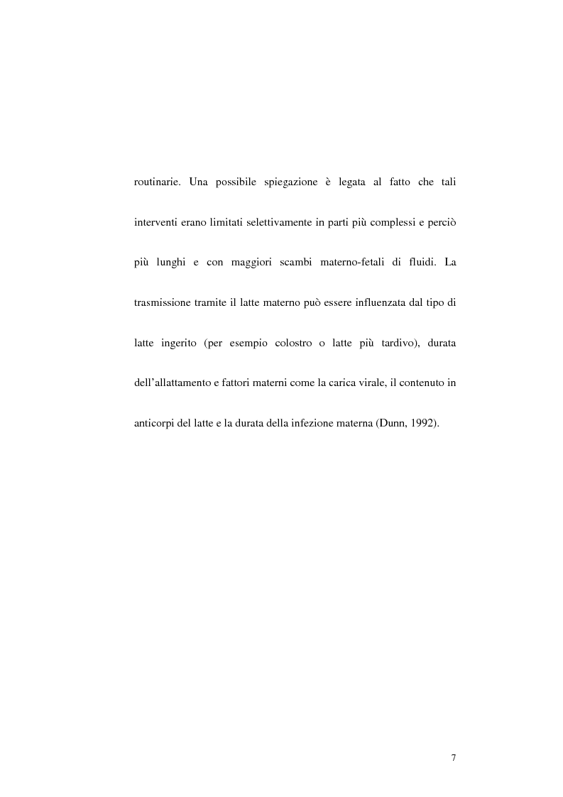 Anteprima della tesi: Riduzione della trasmissione verticale del virus HIV-1 mediante la modalità di espletamento del parto, Pagina 5