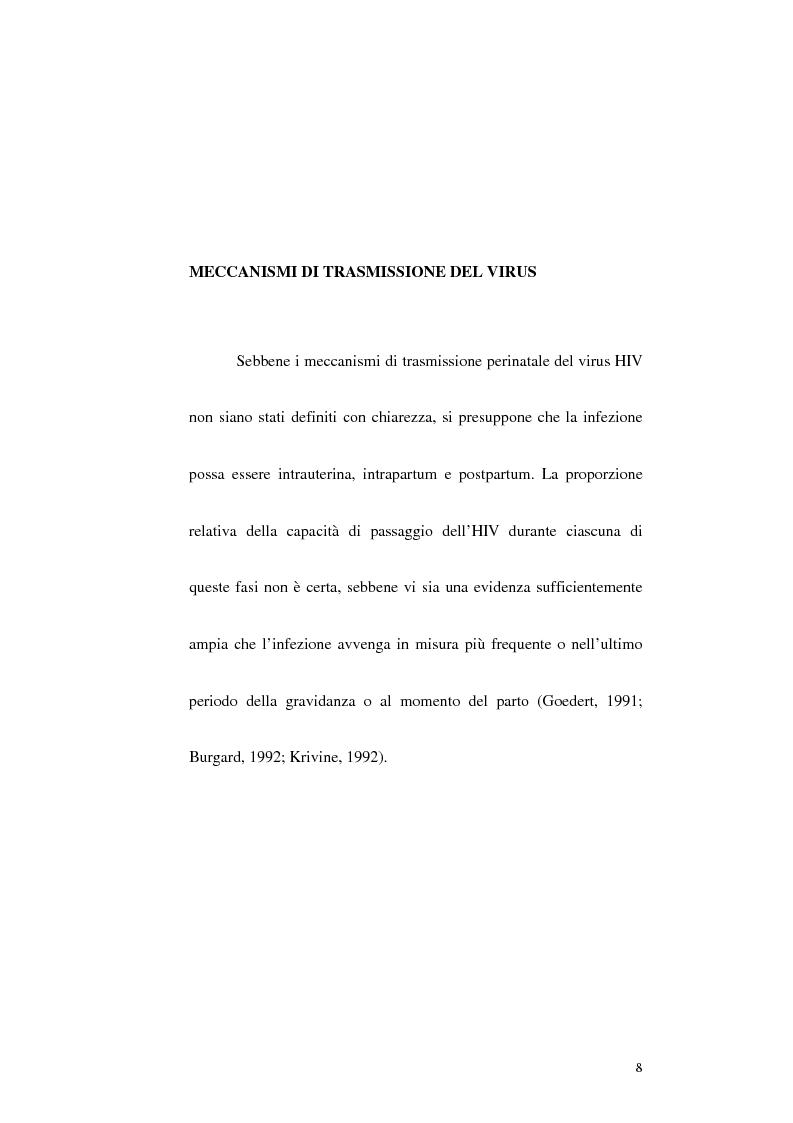 Anteprima della tesi: Riduzione della trasmissione verticale del virus HIV-1 mediante la modalità di espletamento del parto, Pagina 6