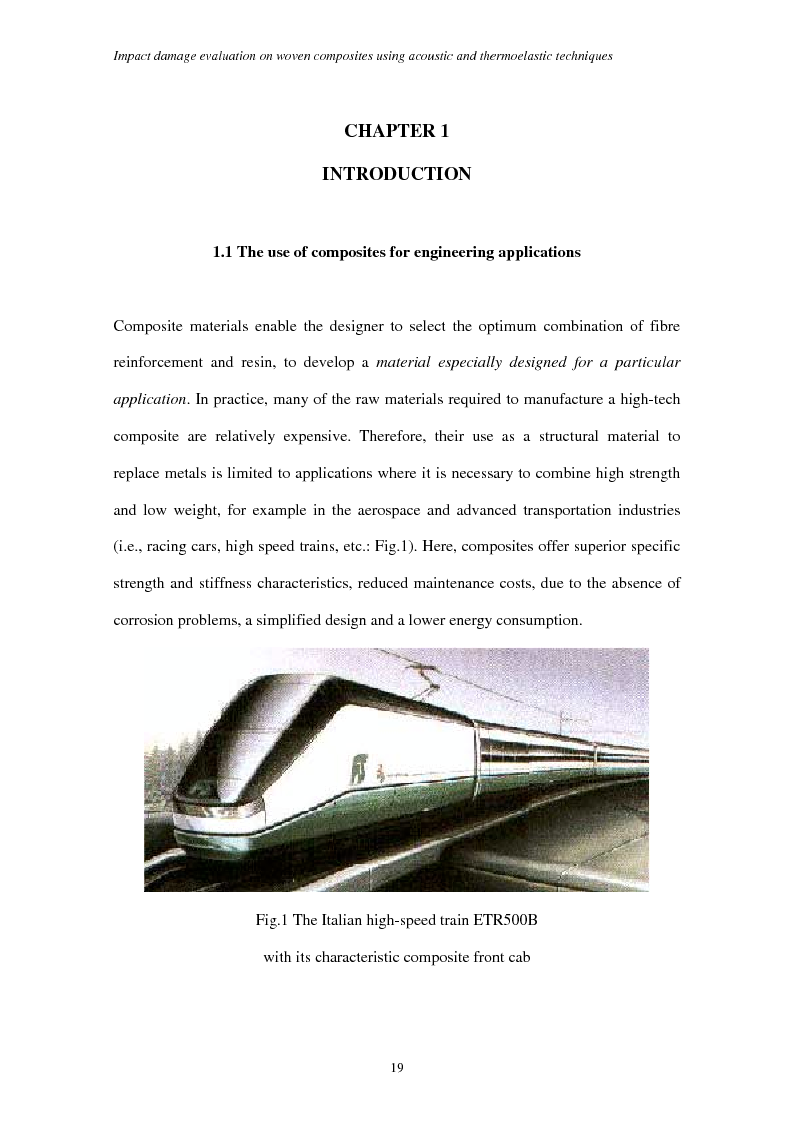 Anteprima della tesi: Impact damage evaluation in woven composites using acoustic and thermoelastic techniques, Pagina 1