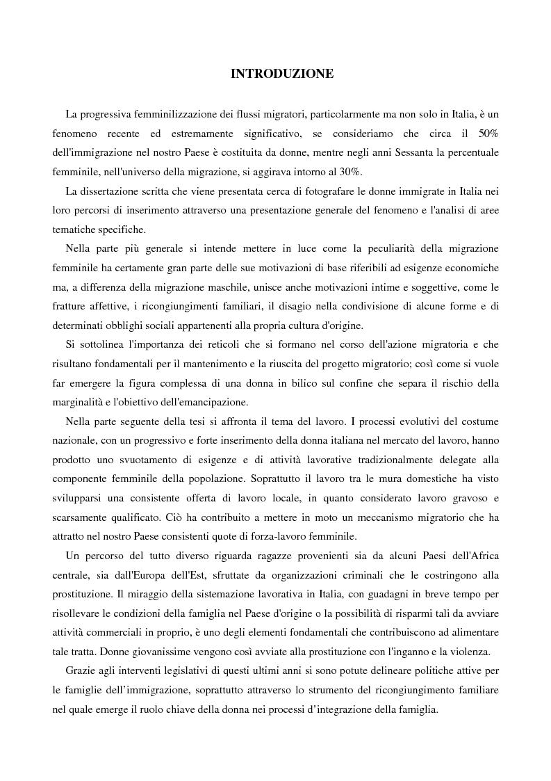 Anteprima della tesi: L'immigrazione femminile in Italia, Pagina 1