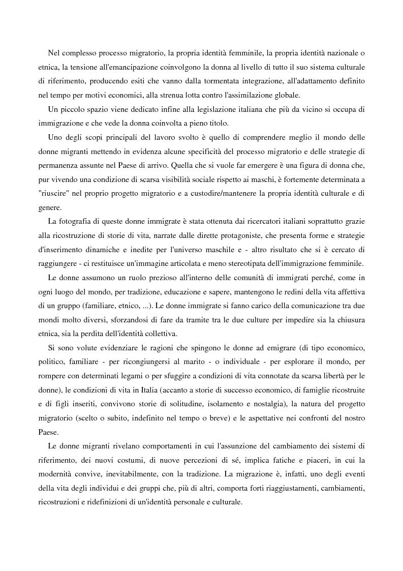 Anteprima della tesi: L'immigrazione femminile in Italia, Pagina 2