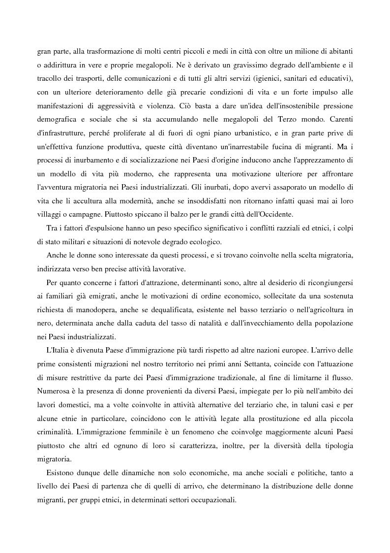 Anteprima della tesi: L'immigrazione femminile in Italia, Pagina 4
