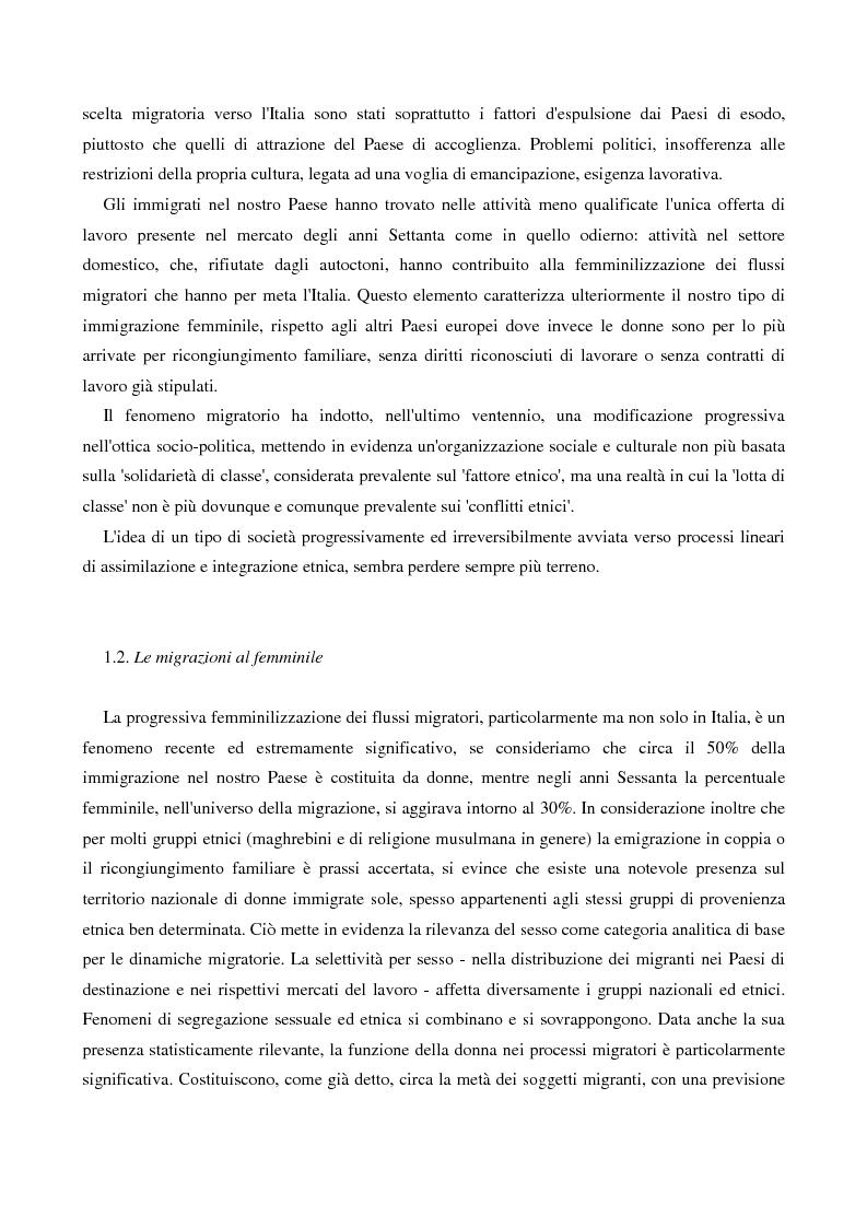 Anteprima della tesi: L'immigrazione femminile in Italia, Pagina 6