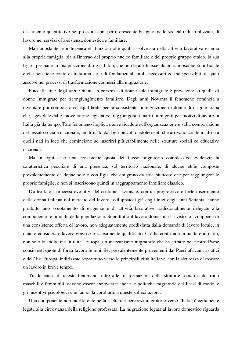 Anteprima della tesi: L'immigrazione femminile in Italia, Pagina 7