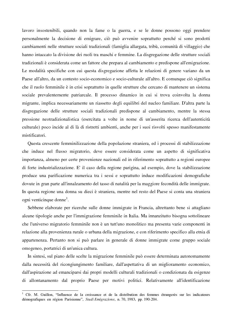 Anteprima della tesi: L'immigrazione femminile in Italia, Pagina 9