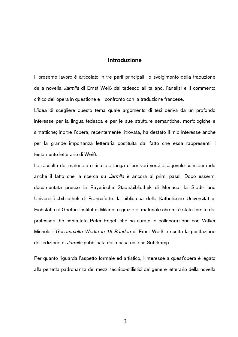 Anteprima della tesi: ''Jarmila. Una storia d'amore boema'' di Ernst Weiss. Traduzione e commento, Pagina 1