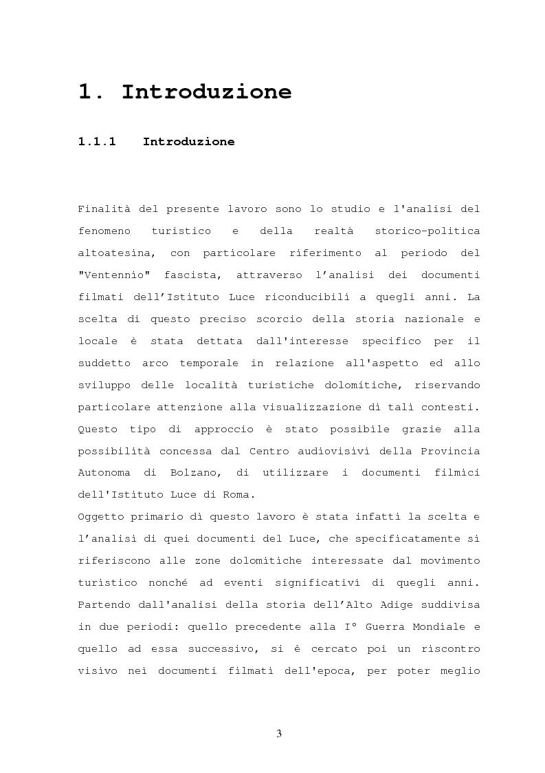 Anteprima della tesi: Il turismo nelle località dolomitiche nel Ventennio attraverso l'analisi dei cinegiornali Luce, Pagina 1