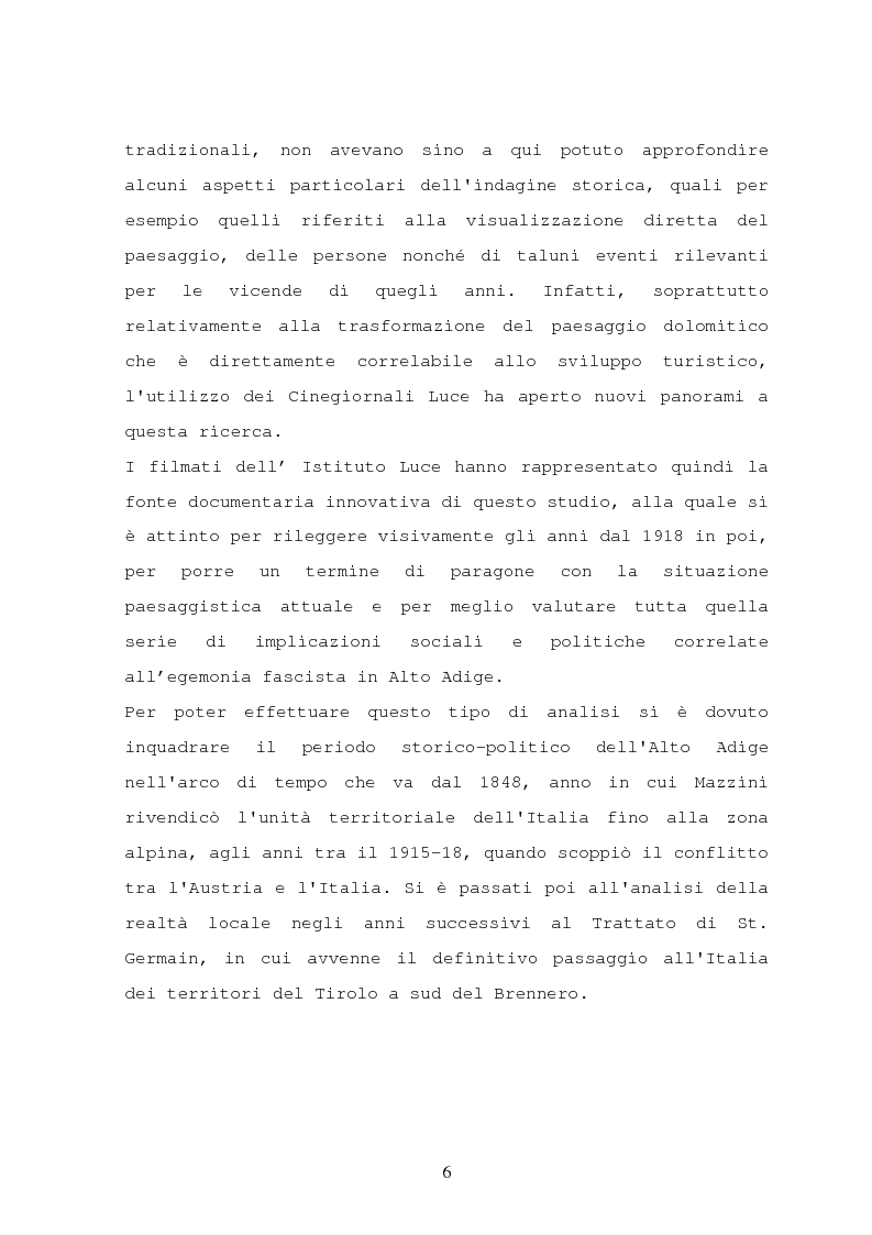 Anteprima della tesi: Il turismo nelle località dolomitiche nel Ventennio attraverso l'analisi dei cinegiornali Luce, Pagina 4
