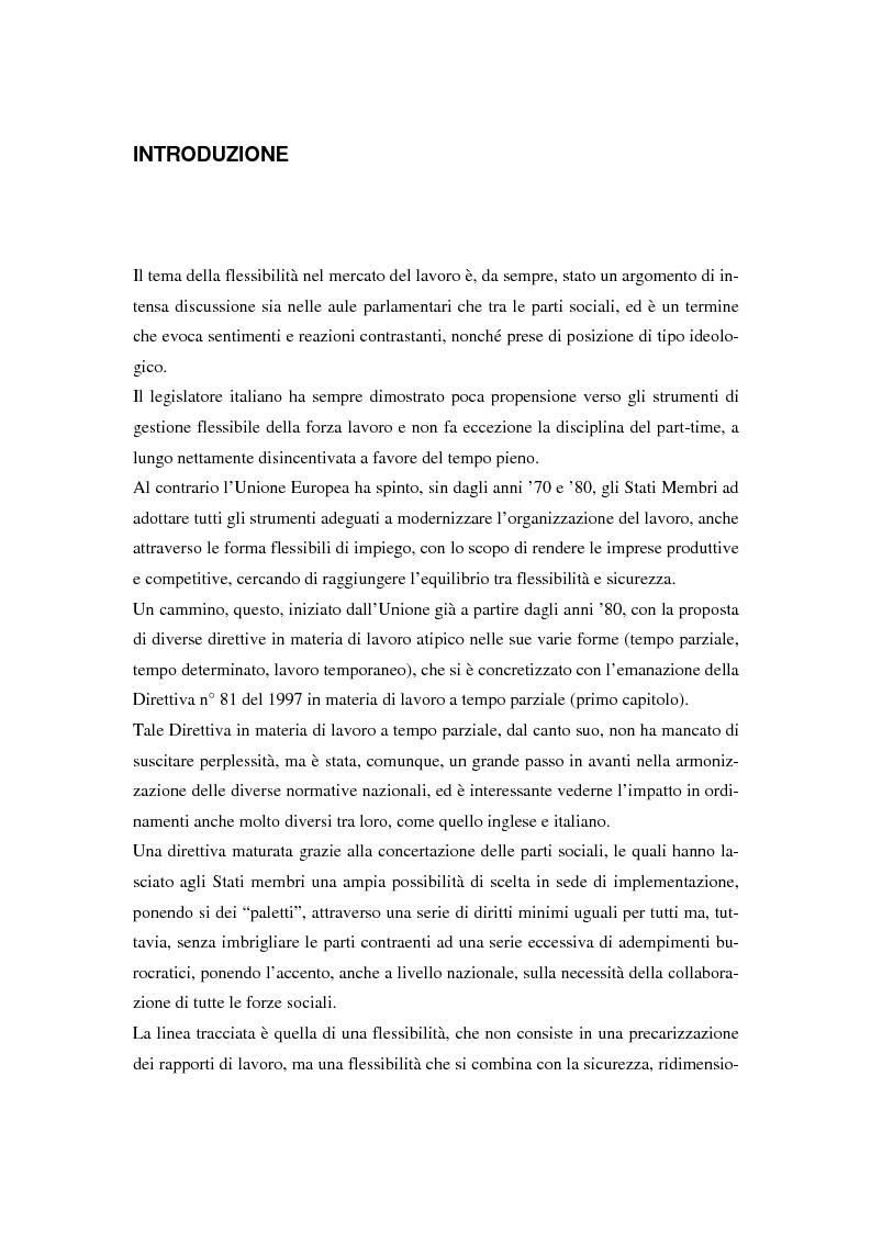 Anteprima della tesi: Il lavoro a tempo parziale: recepimento della direttiva 97/81/Ce nell'ordinamento giuridico italiano e della Gran Bretagna, Pagina 1