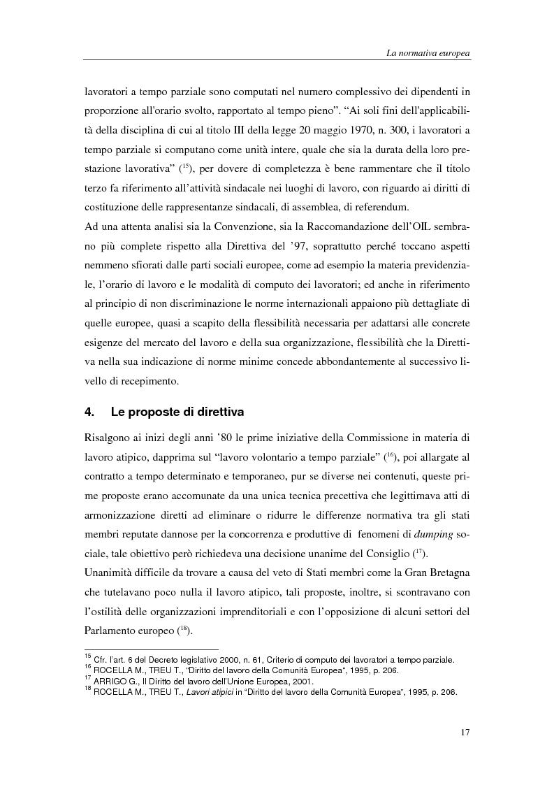 Anteprima della tesi: Il lavoro a tempo parziale: recepimento della direttiva 97/81/Ce nell'ordinamento giuridico italiano e della Gran Bretagna, Pagina 12