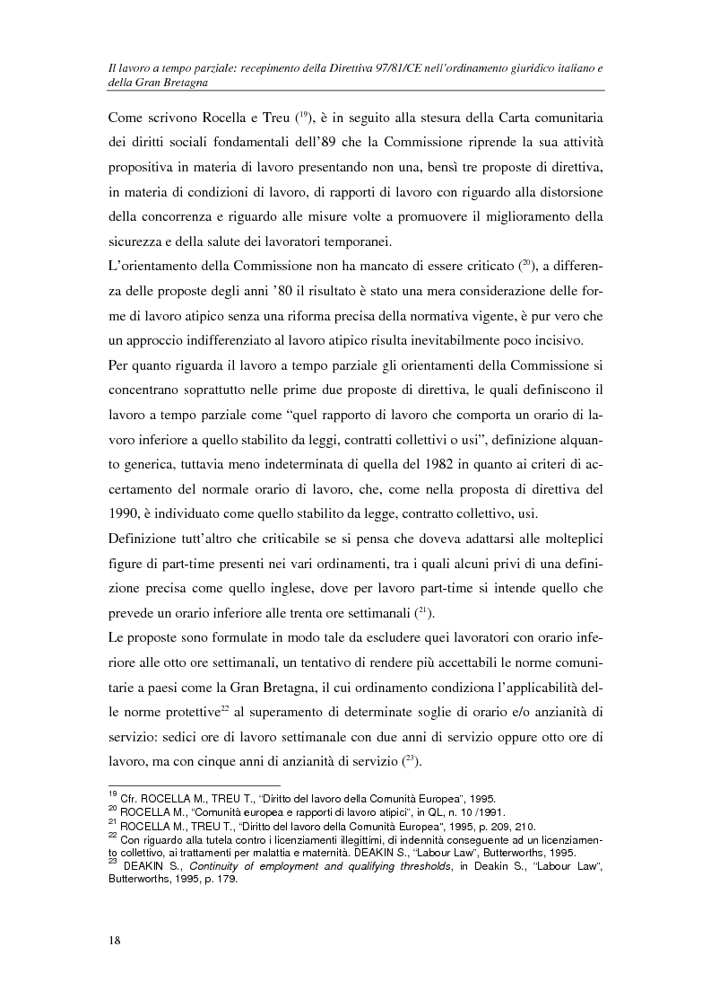 Anteprima della tesi: Il lavoro a tempo parziale: recepimento della direttiva 97/81/Ce nell'ordinamento giuridico italiano e della Gran Bretagna, Pagina 13