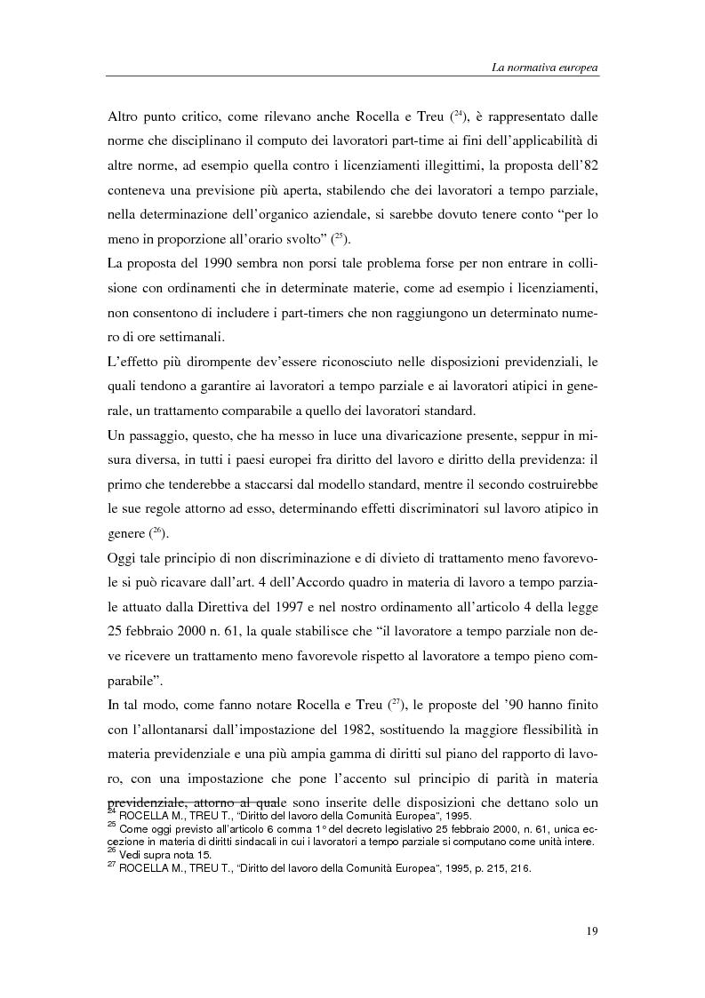 Anteprima della tesi: Il lavoro a tempo parziale: recepimento della direttiva 97/81/Ce nell'ordinamento giuridico italiano e della Gran Bretagna, Pagina 14