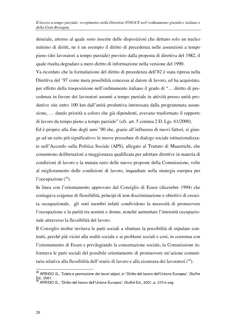 Anteprima della tesi: Il lavoro a tempo parziale: recepimento della direttiva 97/81/Ce nell'ordinamento giuridico italiano e della Gran Bretagna, Pagina 15