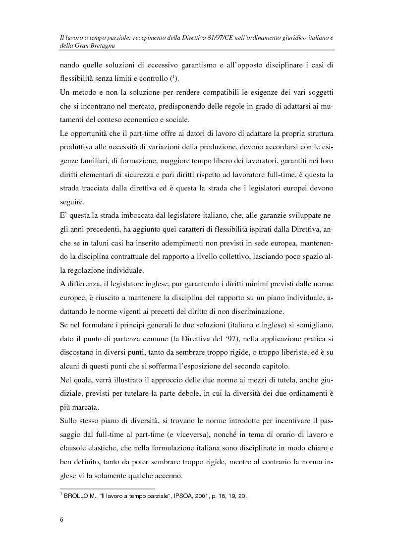 Anteprima della tesi: Il lavoro a tempo parziale: recepimento della direttiva 97/81/Ce nell'ordinamento giuridico italiano e della Gran Bretagna, Pagina 2