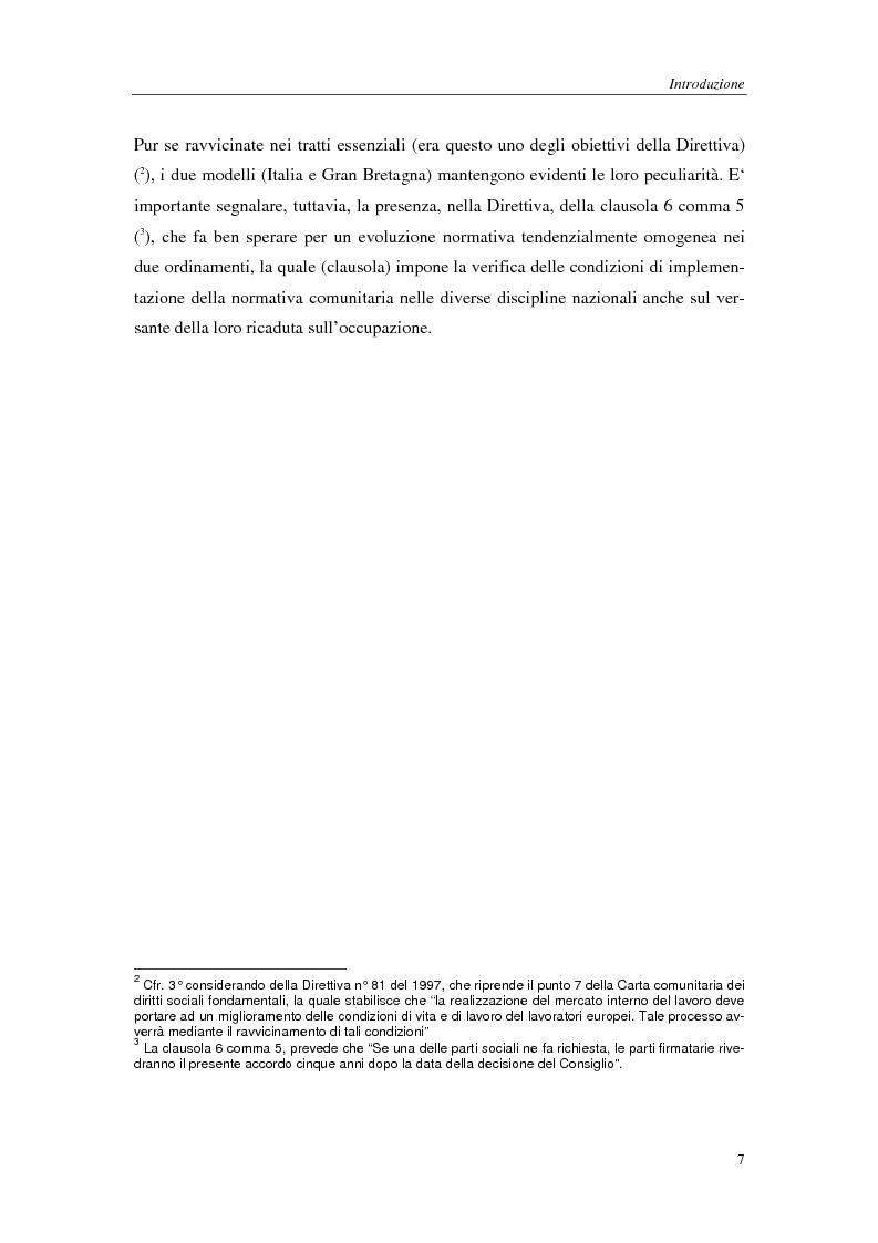 Anteprima della tesi: Il lavoro a tempo parziale: recepimento della direttiva 97/81/Ce nell'ordinamento giuridico italiano e della Gran Bretagna, Pagina 3