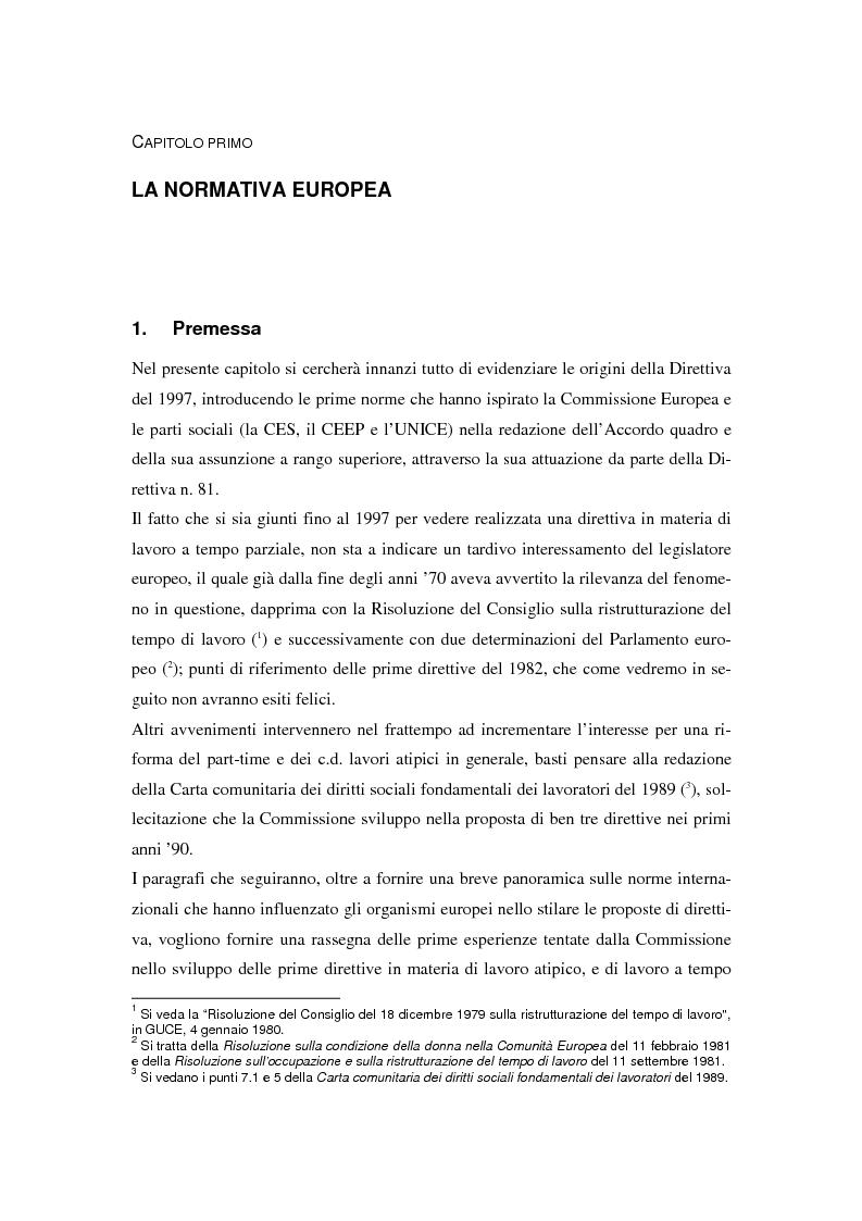 Anteprima della tesi: Il lavoro a tempo parziale: recepimento della direttiva 97/81/Ce nell'ordinamento giuridico italiano e della Gran Bretagna, Pagina 4