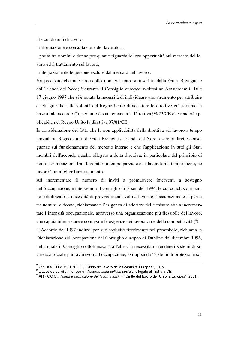 Anteprima della tesi: Il lavoro a tempo parziale: recepimento della direttiva 97/81/Ce nell'ordinamento giuridico italiano e della Gran Bretagna, Pagina 6