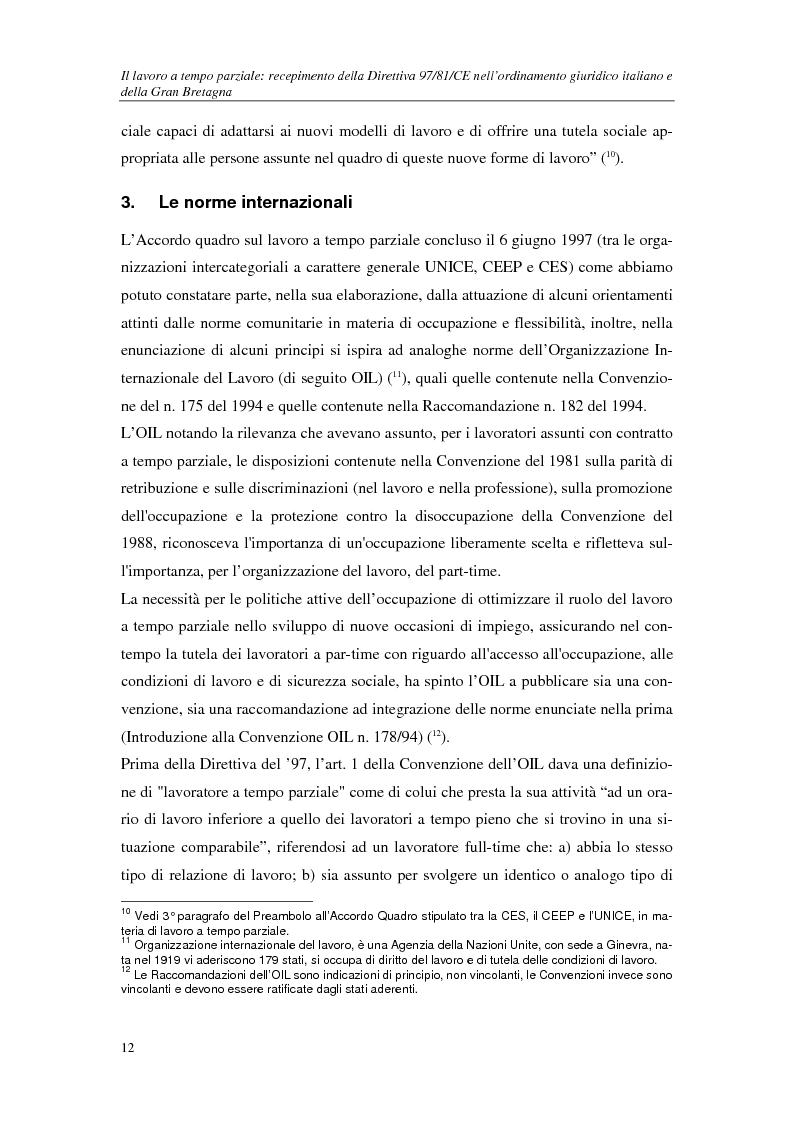 Anteprima della tesi: Il lavoro a tempo parziale: recepimento della direttiva 97/81/Ce nell'ordinamento giuridico italiano e della Gran Bretagna, Pagina 7