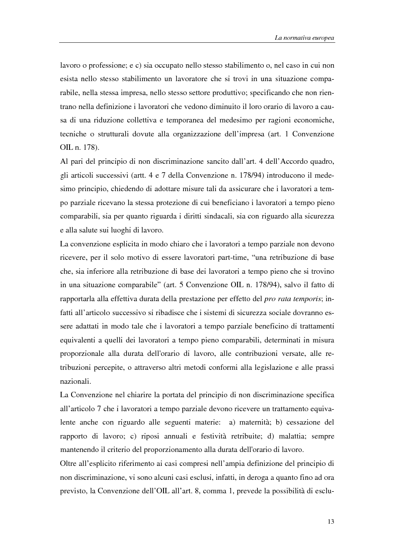 Anteprima della tesi: Il lavoro a tempo parziale: recepimento della direttiva 97/81/Ce nell'ordinamento giuridico italiano e della Gran Bretagna, Pagina 8