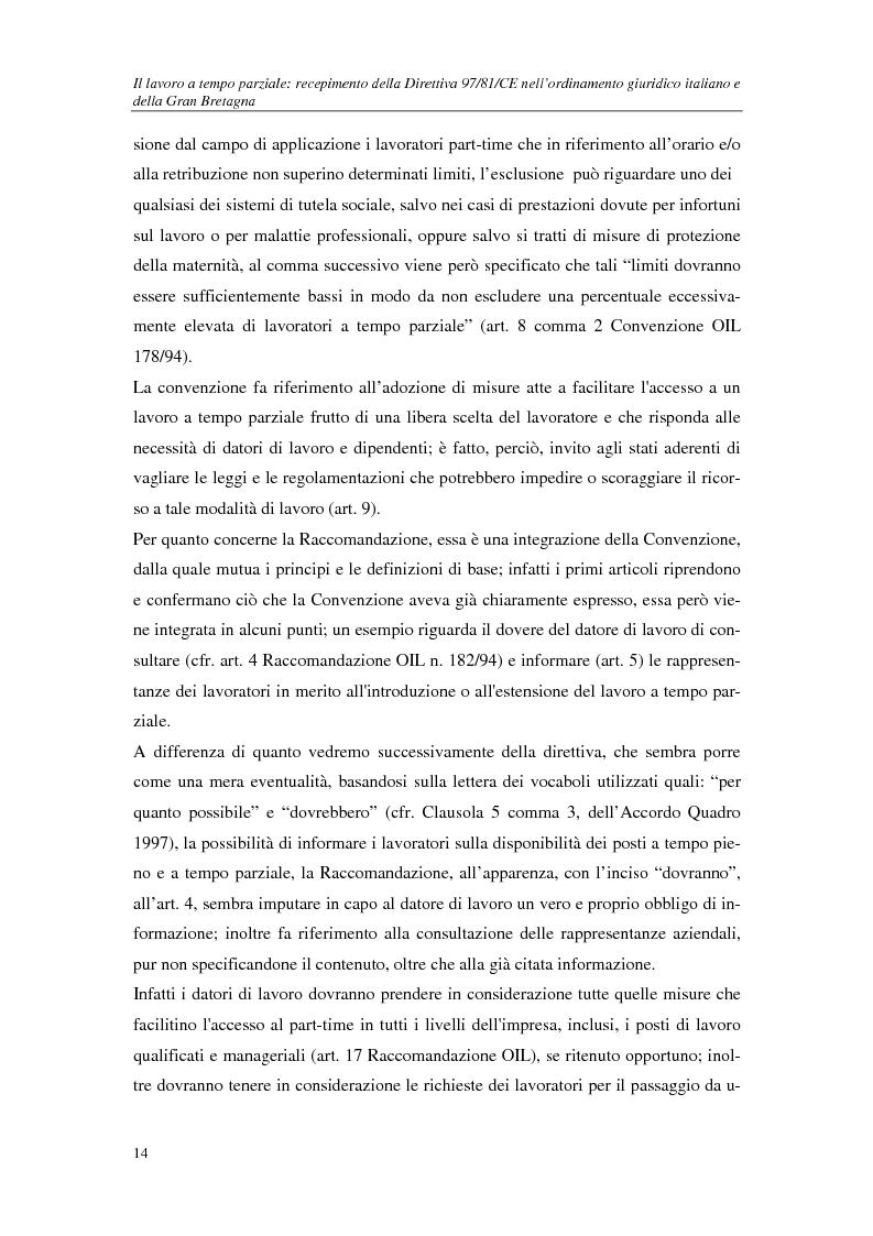 Anteprima della tesi: Il lavoro a tempo parziale: recepimento della direttiva 97/81/Ce nell'ordinamento giuridico italiano e della Gran Bretagna, Pagina 9