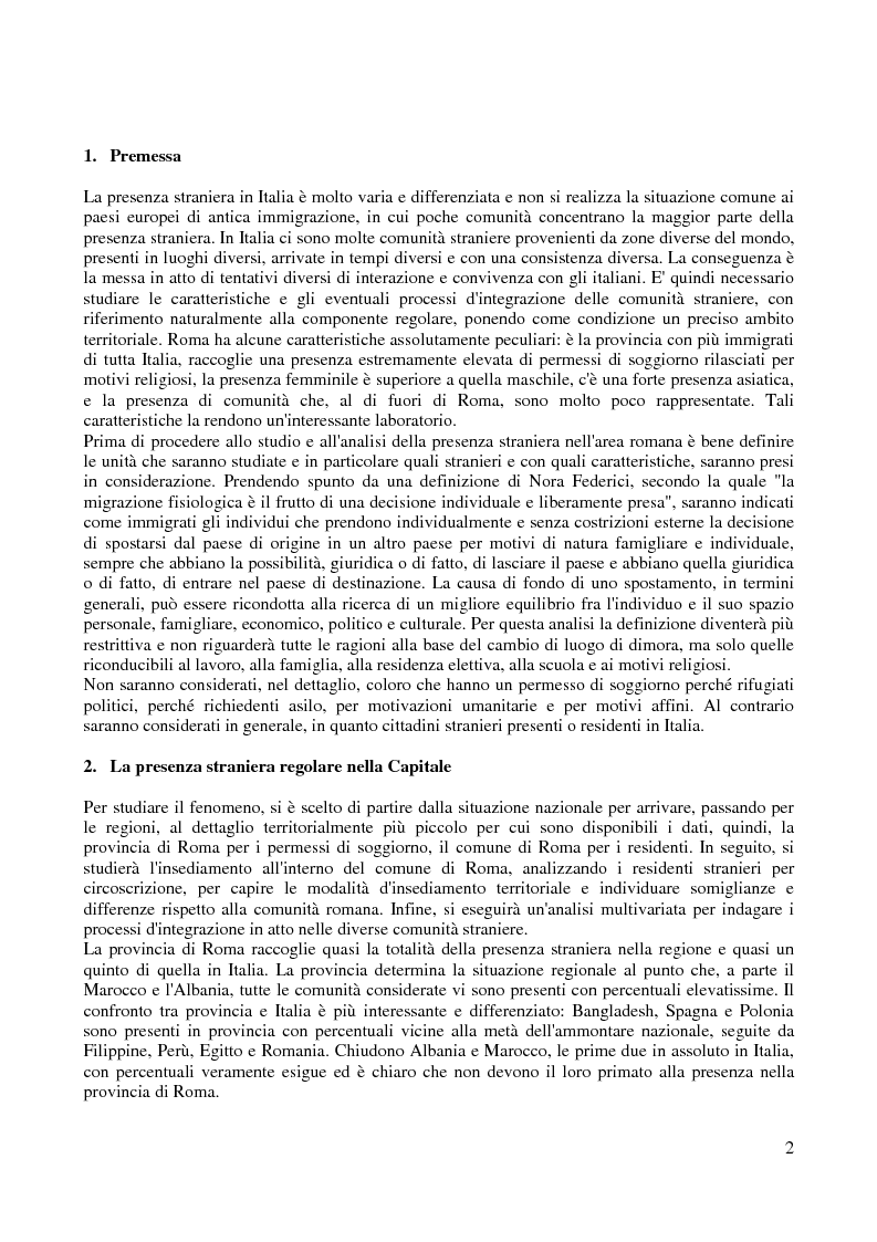 Anteprima della tesi: Le comunità straniere nell'area romana: caratteristiche e processi d'integrazione, Pagina 2