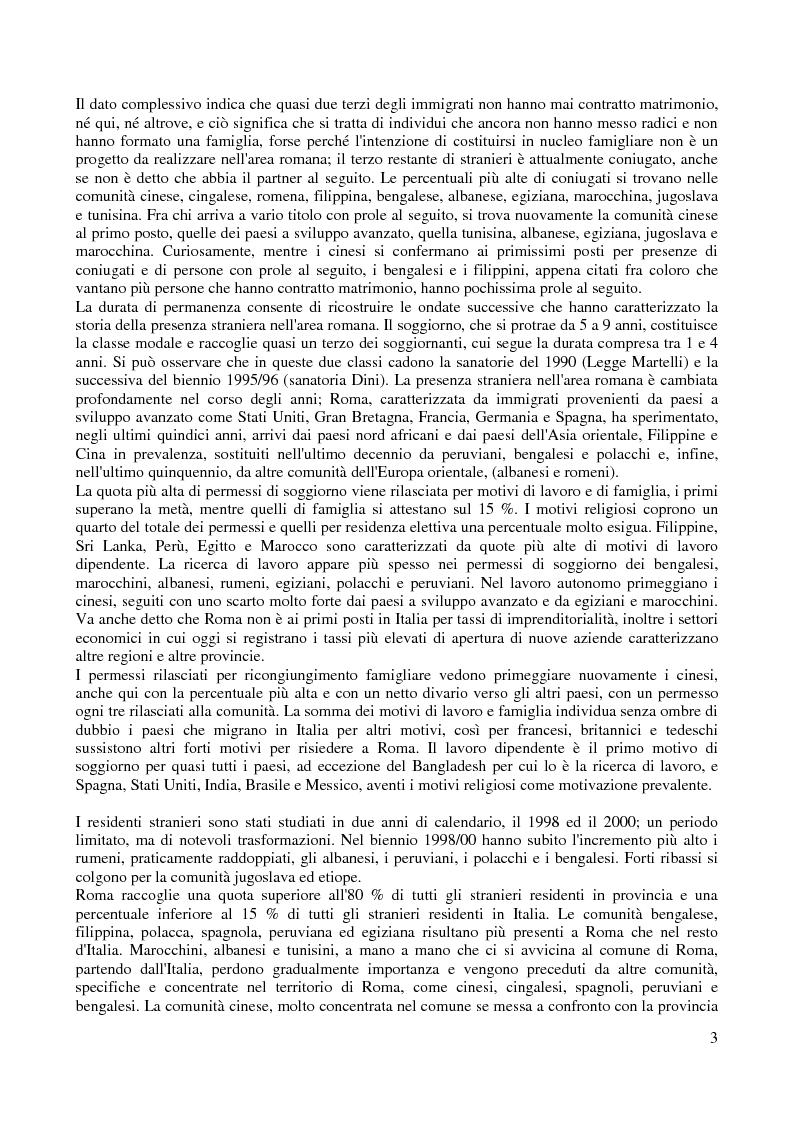 Anteprima della tesi: Le comunità straniere nell'area romana: caratteristiche e processi d'integrazione, Pagina 3