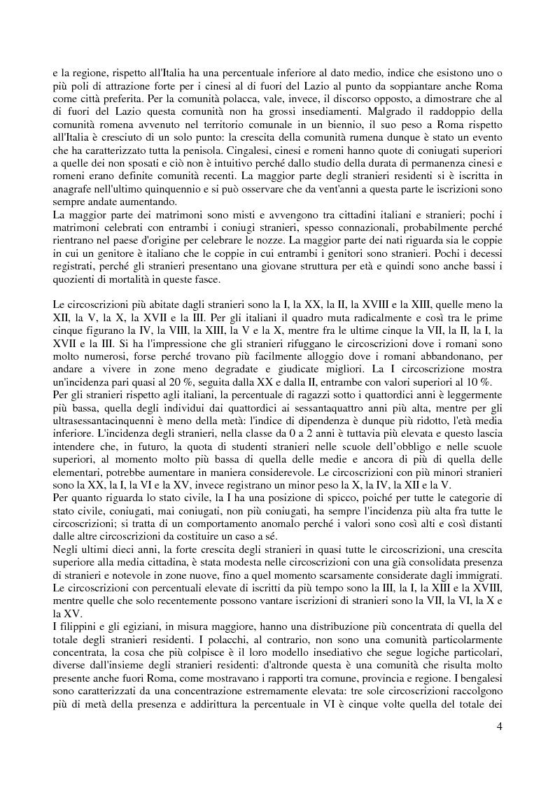 Anteprima della tesi: Le comunità straniere nell'area romana: caratteristiche e processi d'integrazione, Pagina 4