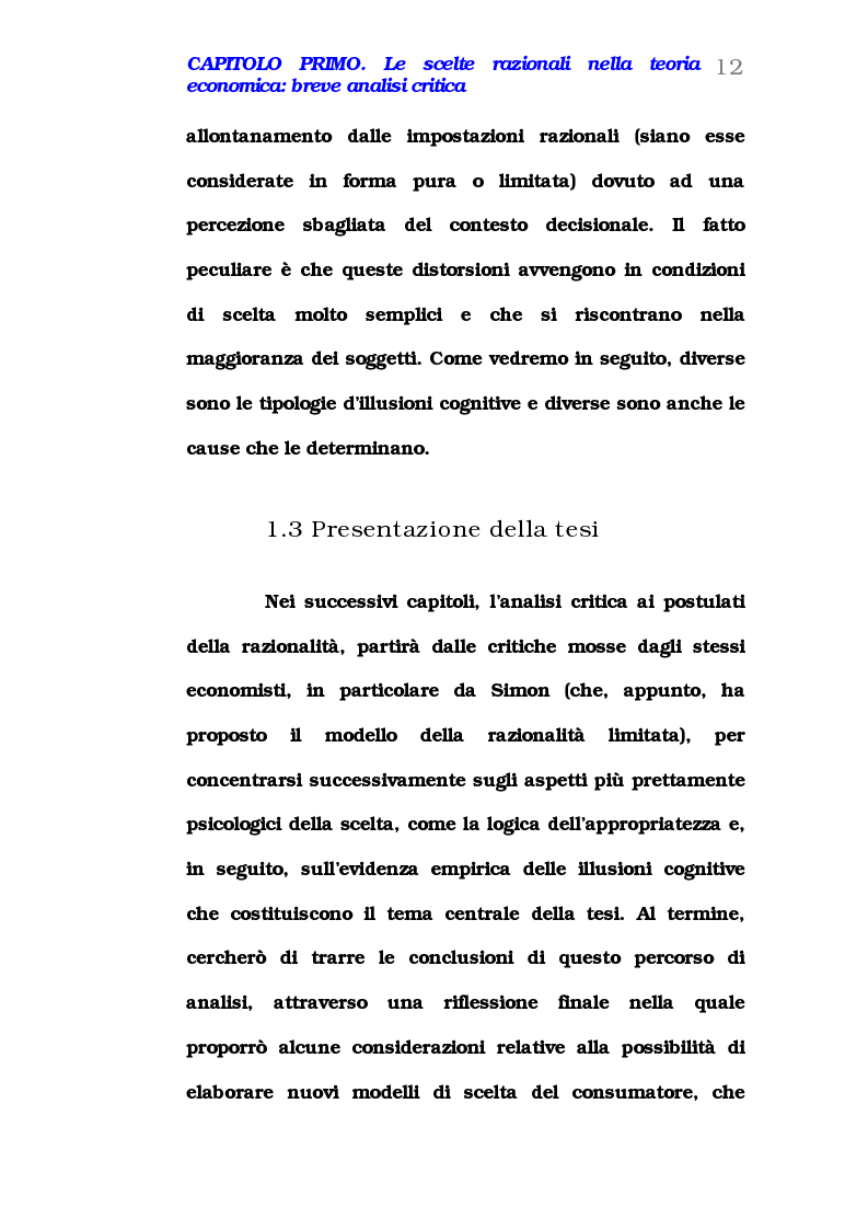 Anteprima della tesi: Comportamento del consumatore e illusioni cognitive, Pagina 7