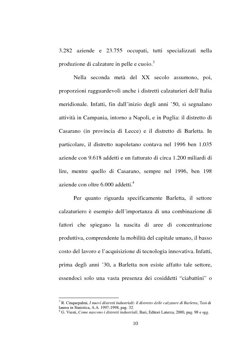 Anteprima della tesi: Evoluzione del settore calzaturiero e tessile a Barletta dagli anni '70 agli anni '90, Pagina 10