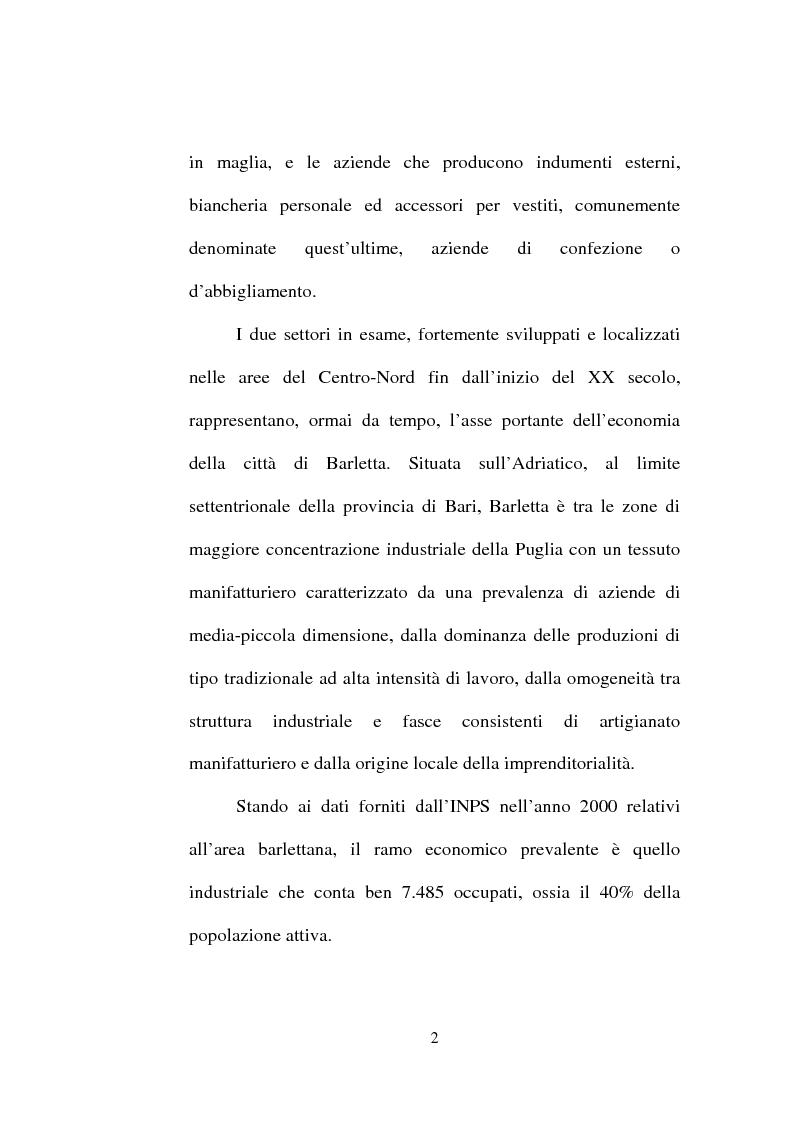 Anteprima della tesi: Evoluzione del settore calzaturiero e tessile a Barletta dagli anni '70 agli anni '90, Pagina 2
