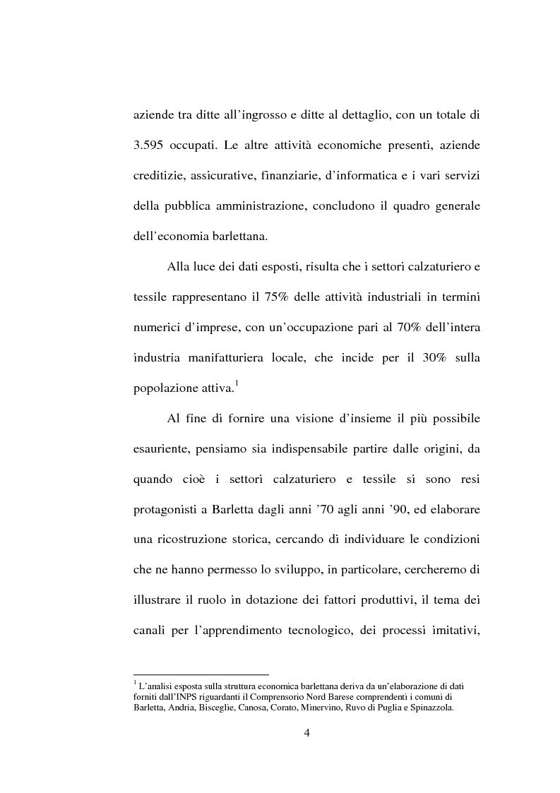 Anteprima della tesi: Evoluzione del settore calzaturiero e tessile a Barletta dagli anni '70 agli anni '90, Pagina 4