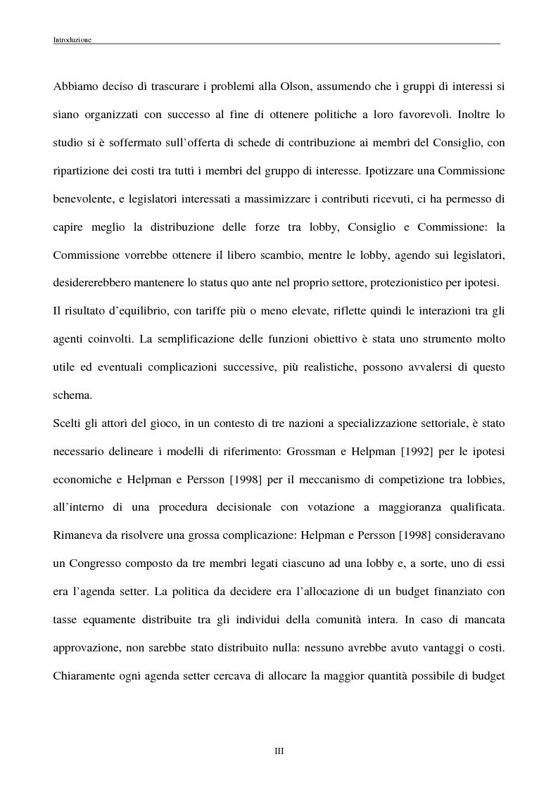 Anteprima della tesi: La politica commerciale estera della UE: l'interazione tra lobbies, Commissione e Consiglio, Pagina 3
