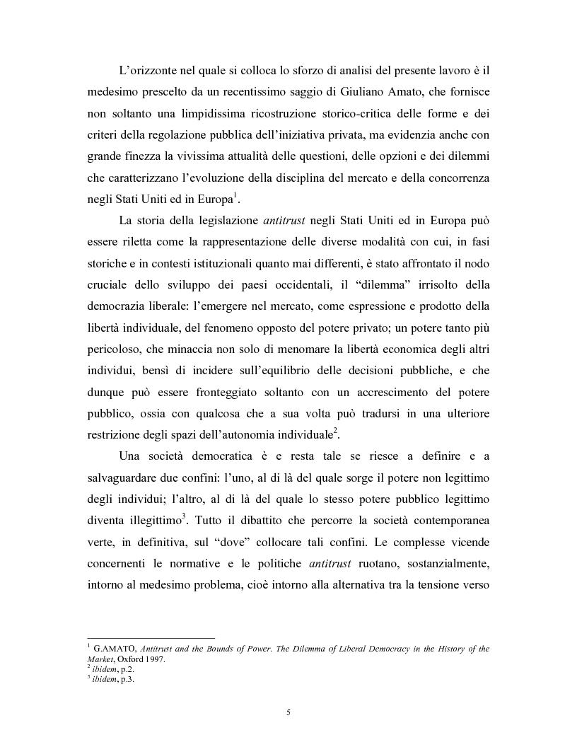 Anteprima della tesi: Il modello delle amministrazioni indipendenti in Italia e negli Stati Uniti. Profili comparati di disciplina della concorrenza., Pagina 1