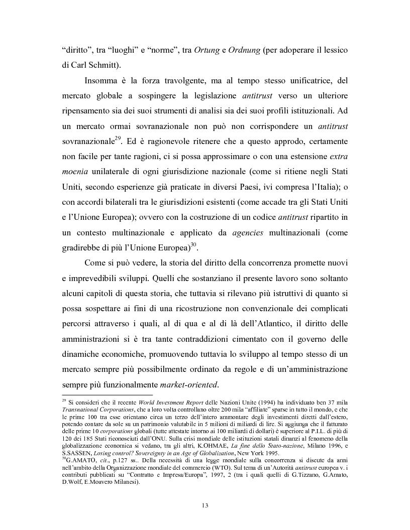 Anteprima della tesi: Il modello delle amministrazioni indipendenti in Italia e negli Stati Uniti. Profili comparati di disciplina della concorrenza., Pagina 9