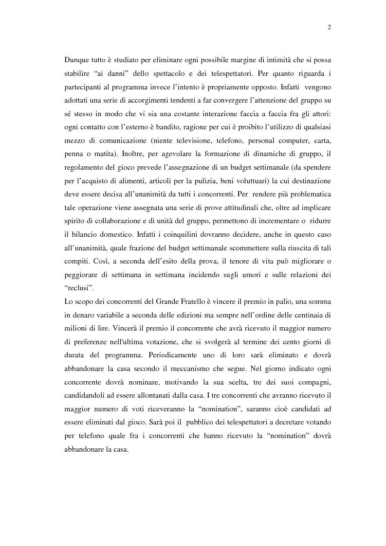 Anteprima della tesi: Grande Fratello: un prototipo di merce simbolica a distribuzione globale, Pagina 2