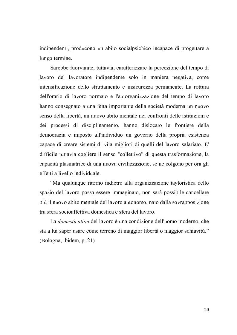 Anteprima della tesi: Giovani, lavoro e qualità della vita. Indagine esplorativa condotta su un campione di lavoratori autonomi e dipendenti, Pagina 17