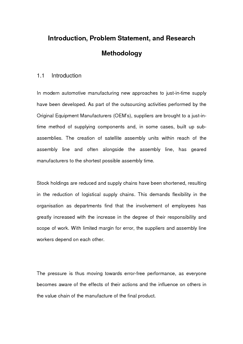 Anteprima della tesi: The effects of line-side supply on individuals employed in satellite operations within automotive maunfacturers, Pagina 1