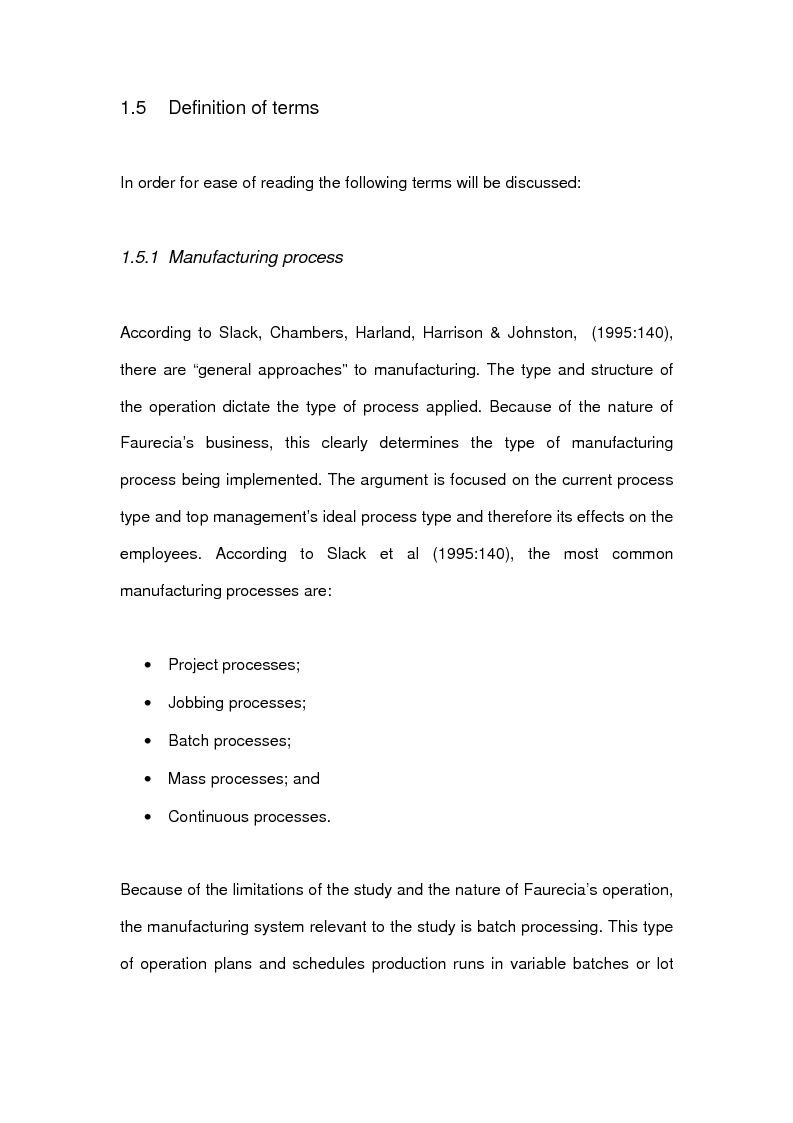 Anteprima della tesi: The effects of line-side supply on individuals employed in satellite operations within automotive maunfacturers, Pagina 7