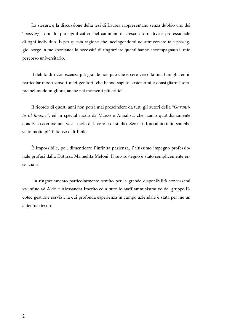 Anteprima della tesi: Il controllo di gestione nelle imprese che operano su commessa: il caso del Gruppo Ecotec, Pagina 2