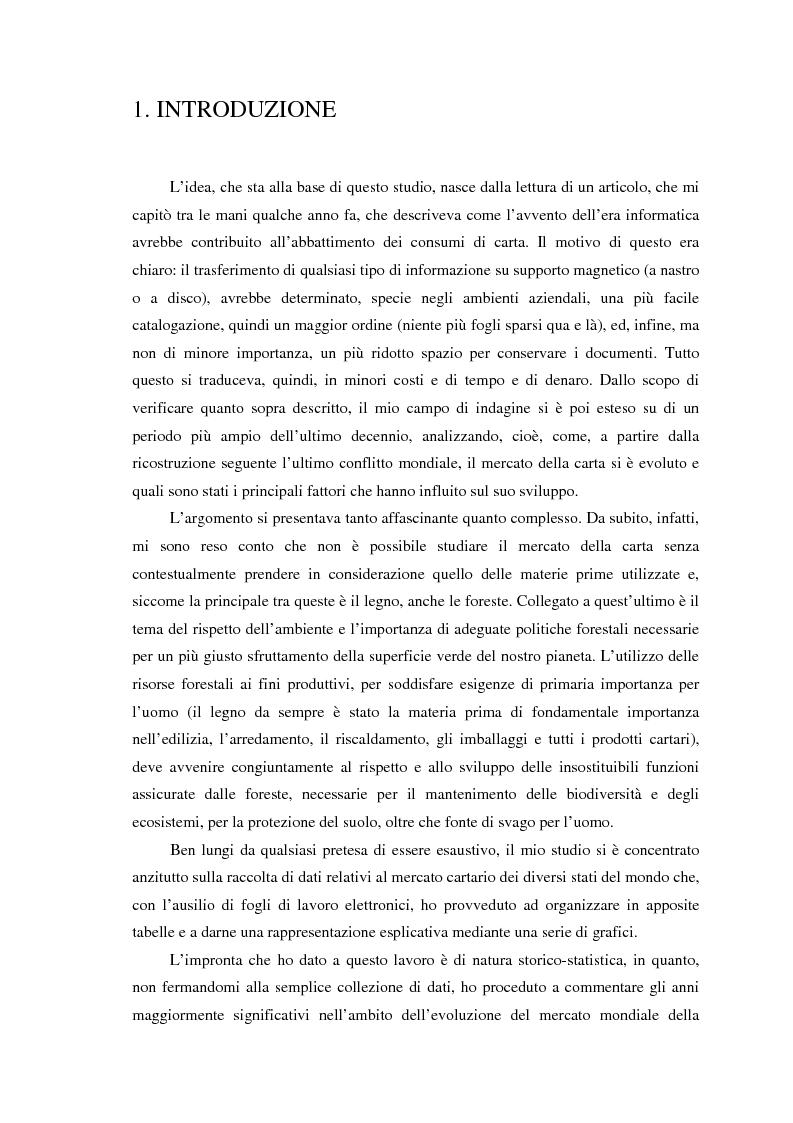 Anteprima della tesi: L'evoluzione del mercato mondiale della carta dal secondo dopoguerra a oggi, Pagina 1
