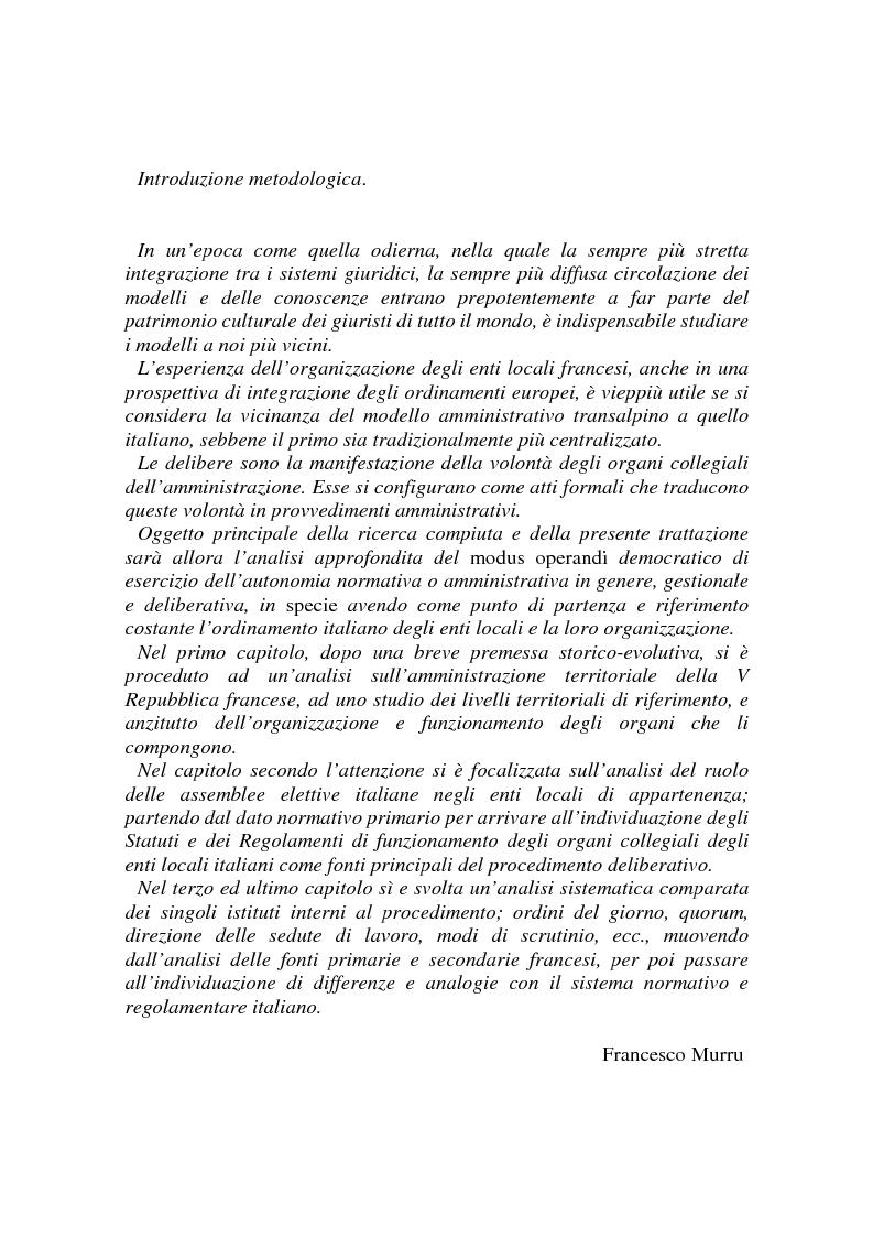 Anteprima della tesi: Procedimenti deliberativi negli enti locali; l'esperienza francese, Pagina 1
