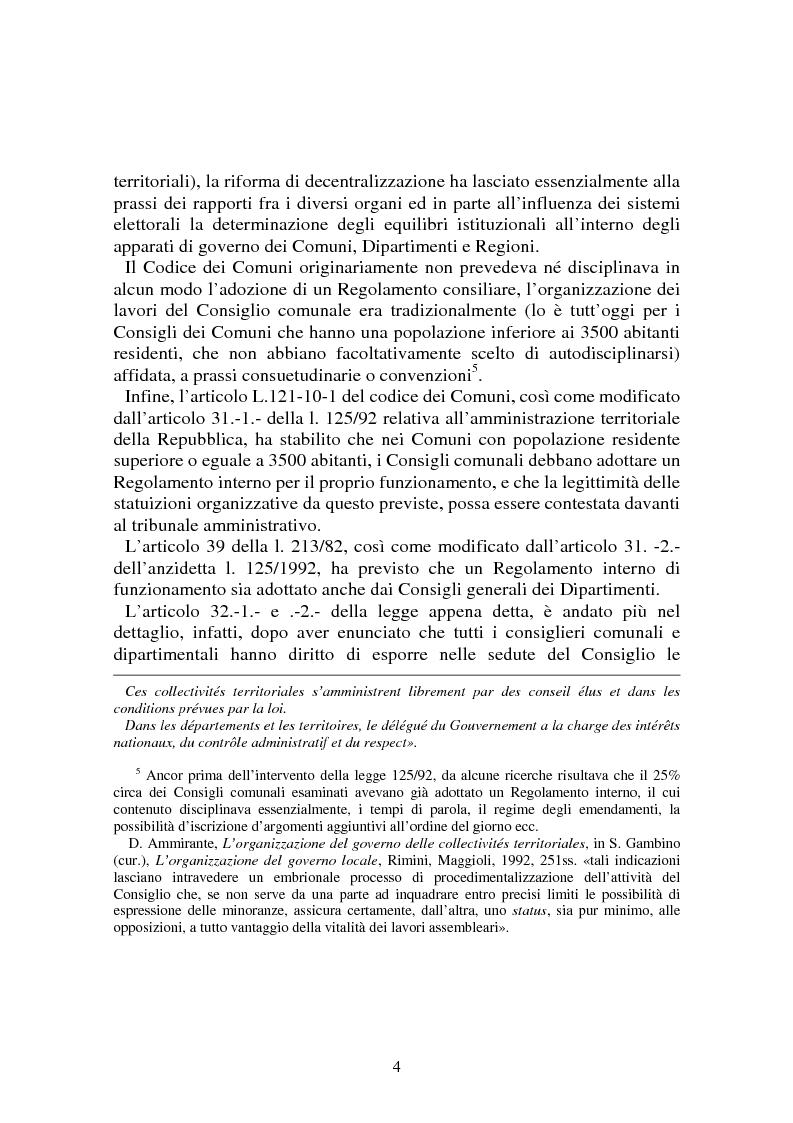 Anteprima della tesi: Procedimenti deliberativi negli enti locali; l'esperienza francese, Pagina 5